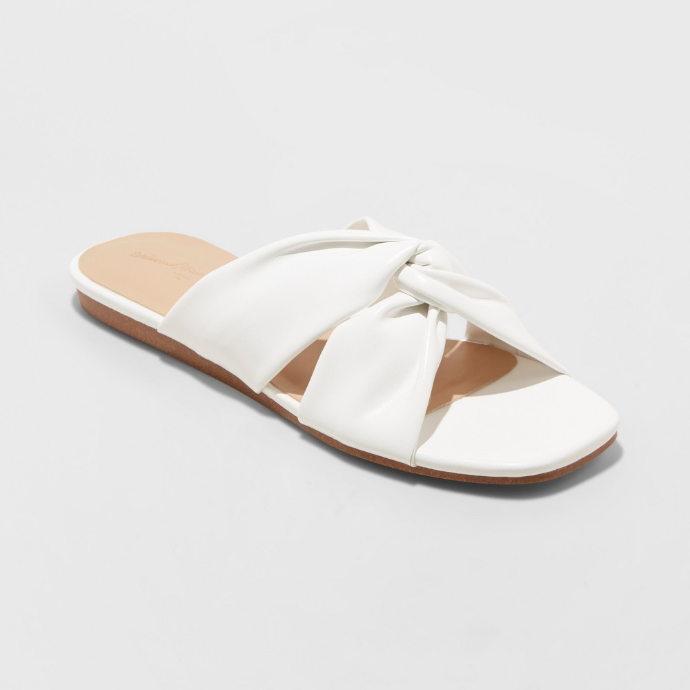 Women's Rayna Knotted Slide Sandals - A New Day White 8.5