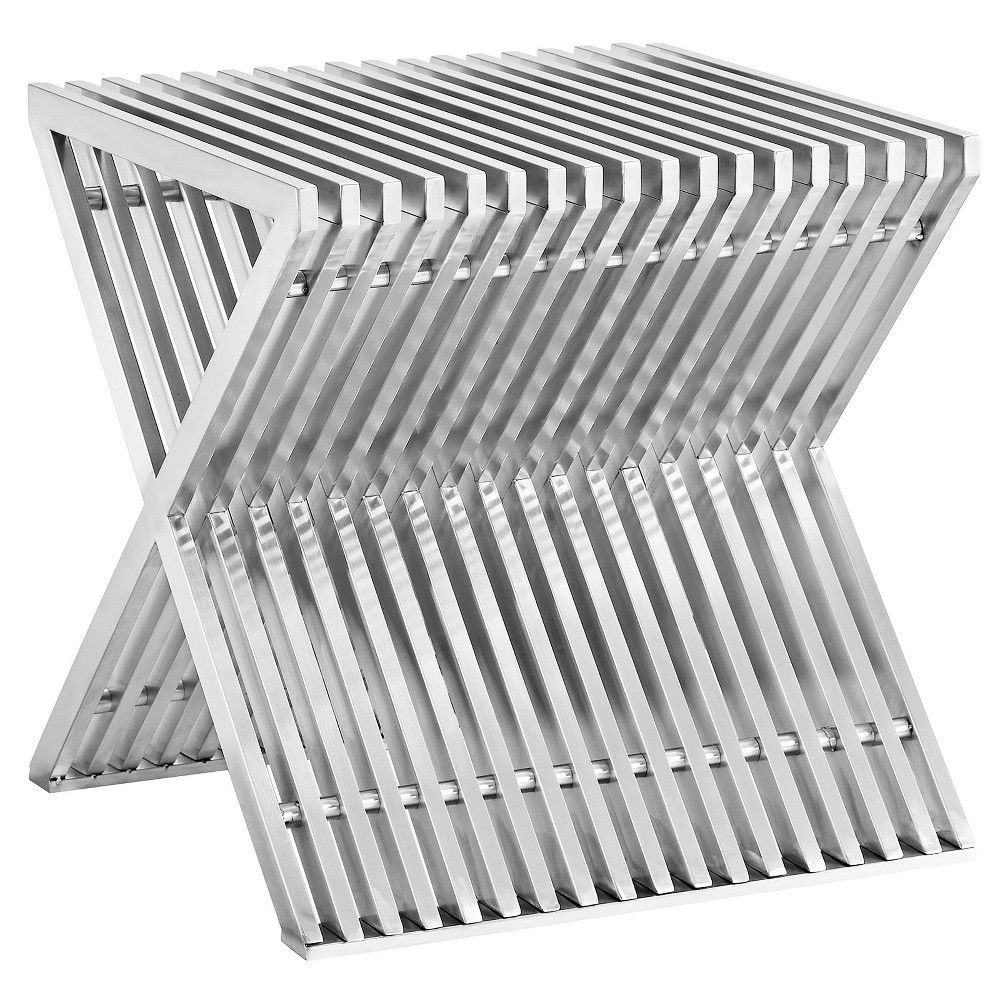 Press Stainless Steel Side Table Silver - Modway