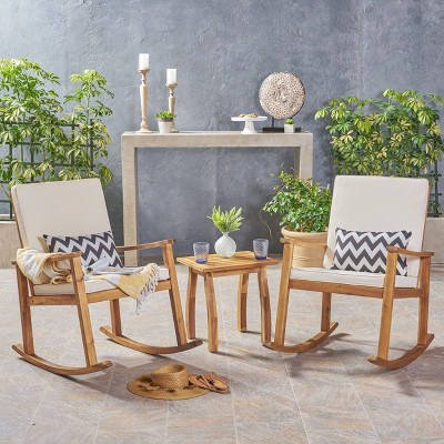 3pc Candel Acacia Wood Patio Rocking Chair and Table Set Teak - Christopher Knight Home