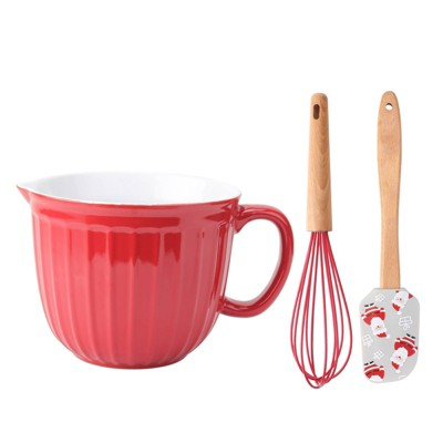 3pc Ceramic Mixing Bowl with Whisk and Spatula Set Red - Cook With Color