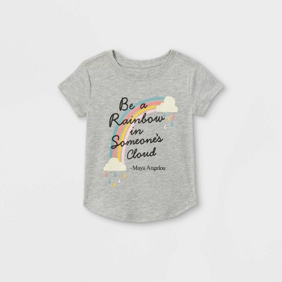 Toddler Girls' 'Be A Rainbow In Someone's Cloud' Short Sleeve Graphic T-Shirt - Gray