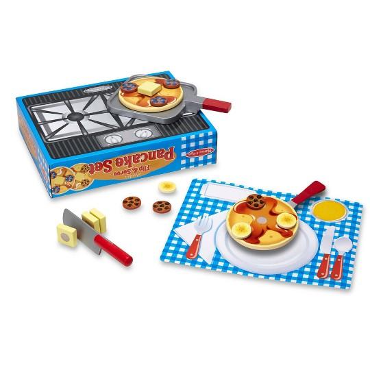 Melissa & Doug Flip and Serve Pancake Set (19pc) - Wooden Breakfast Play Food image number null