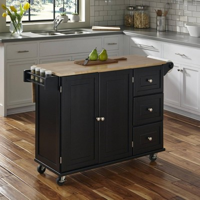 Liberty Kitchen Cart with Stainless Steel Top Black - Home Styles