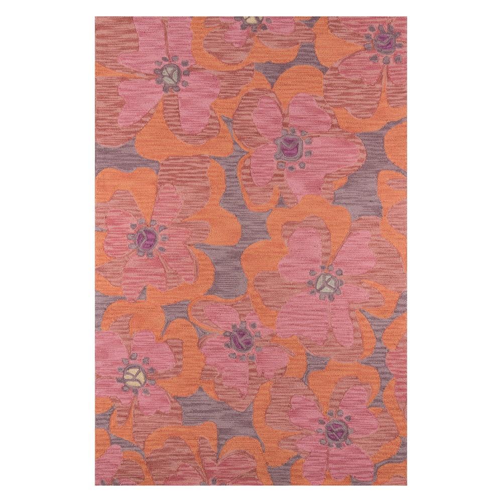 8'X10' Floral Hooked Area Rug Raspberry - Momeni