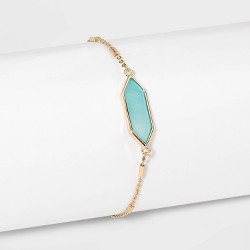Boxed Hexagon with Semi-Precious Stone Bolo Bracelet - A New Day™