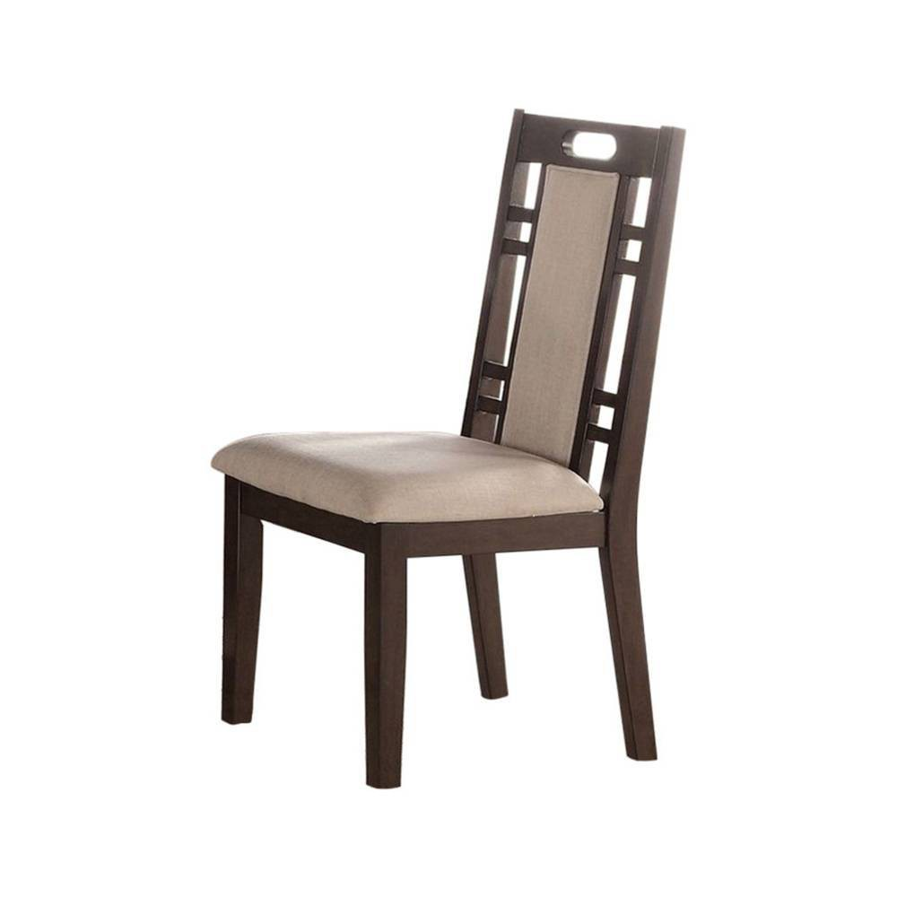Set Of 2 Rubber Wood Dining Chair With Cushion Back And Seat Brown Benzara