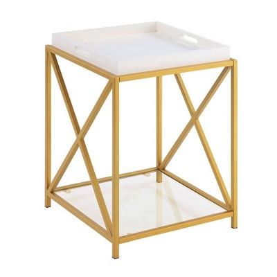 St Andrews End Table White/Gold - Breighton Home