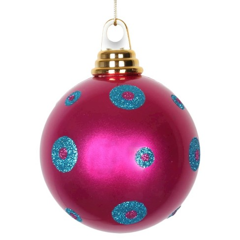 3ct Cerise/Turquoise Polka Dot Candy Ball Christmas Ornament Set - image 1 of 1
