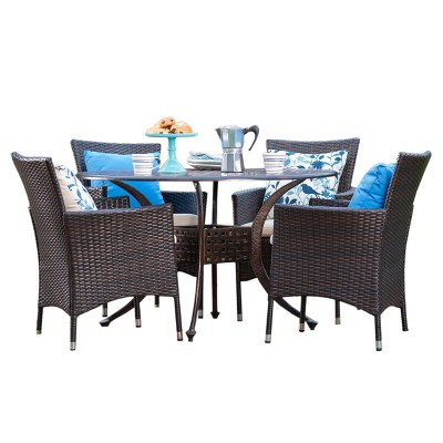 Elk 5pc Round Metal Patio Dining Set w/ All-Weather Wicker Chairs - Shiny Copper/Brown - Christopher Knight Home