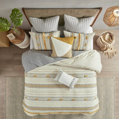 King/California King 3pc Cody Cotton Comforter Set Gray/Yellow