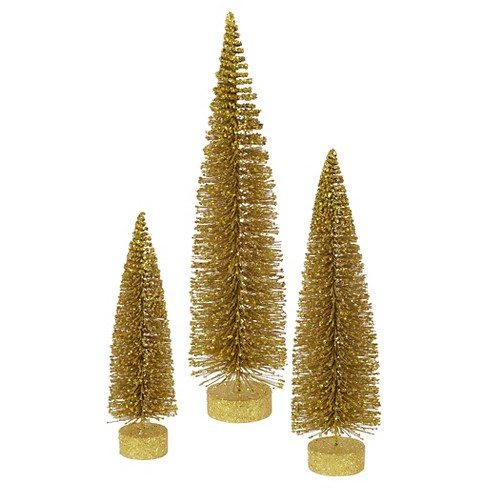 "12"", 16"", 20"" Unlit Artificial Christmas Tree Glitter Oval Gold Set - image 1 of 2"