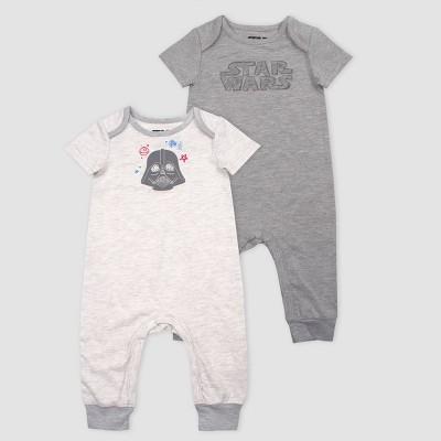 Baby Boys' Star Wars Darth Vader 2pk Rompers - Heather Gray Newborn