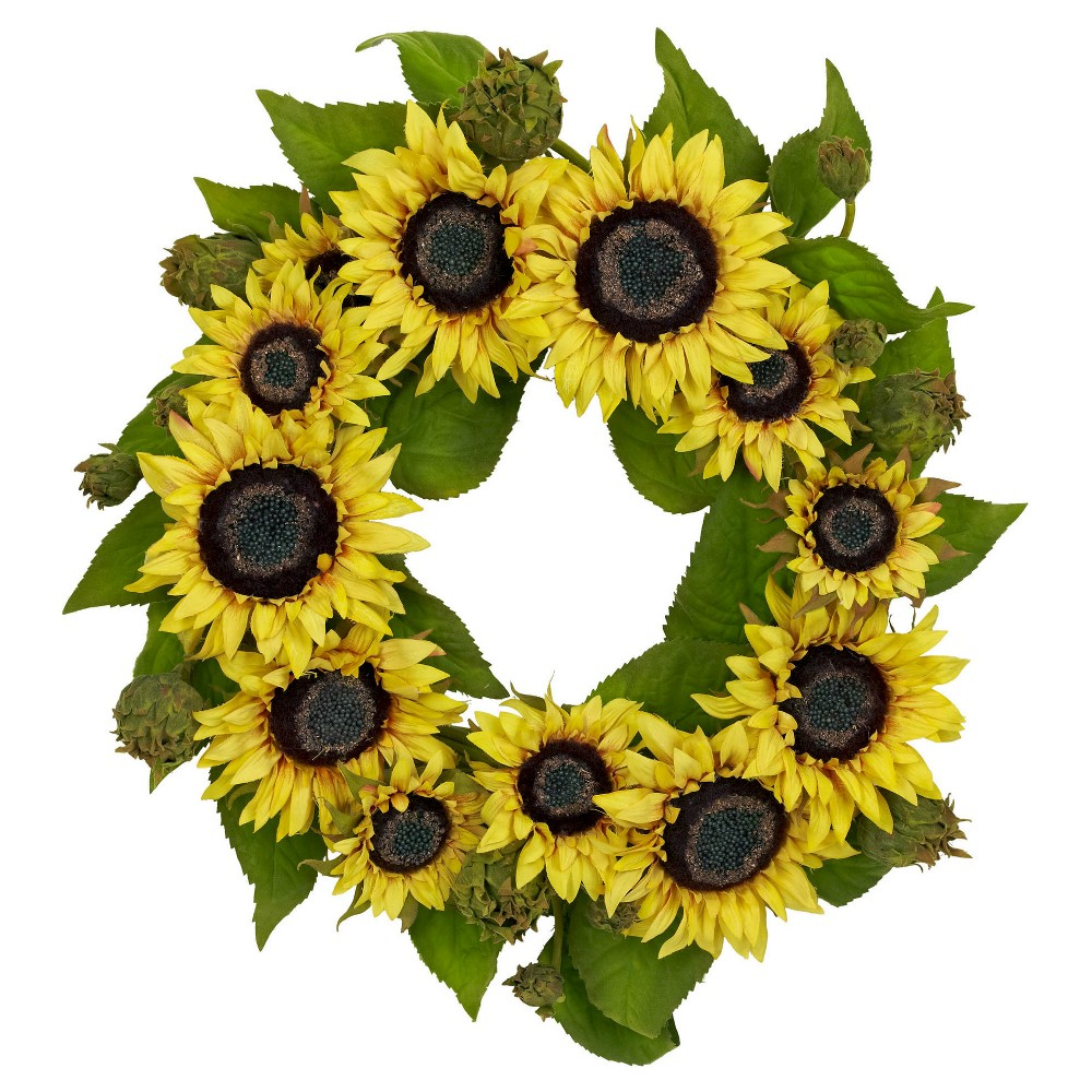 Image of 22 Sunflower Wreath - Nearly Natural, Yellow