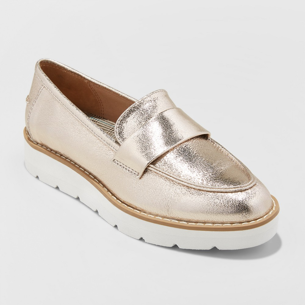 Women's Penny Wide Width Loafers - A New Day Gold 12W, Size: 12 Wide