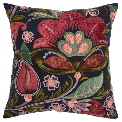 "20""x20"" Oversize Floral Square Throw Pillow Cover Black - Rizzy Home"
