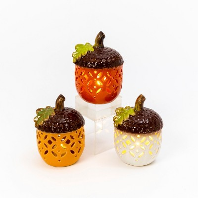 Gerson International Set of 3 Assorted Battery Operated Lighted Carmic Acorns.