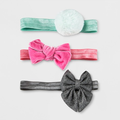 Toddler Girls' 3pc Clips and Barrettes Set Cat & Jack™ Green/Pink/Black - image 1 of 1