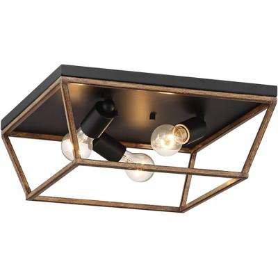 "John Timberland Modern Industrial Ceiling Light Flush Mount Fixture Black 15"" Wide 3-Light Painted Wood Bedroom Hallway Kitchen"