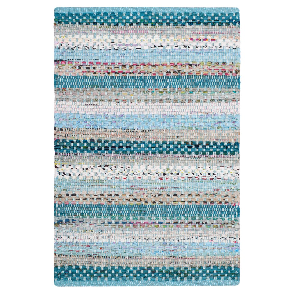 Aqua (Blue) Stripe Woven Area Rug 5'X8' - Safavieh