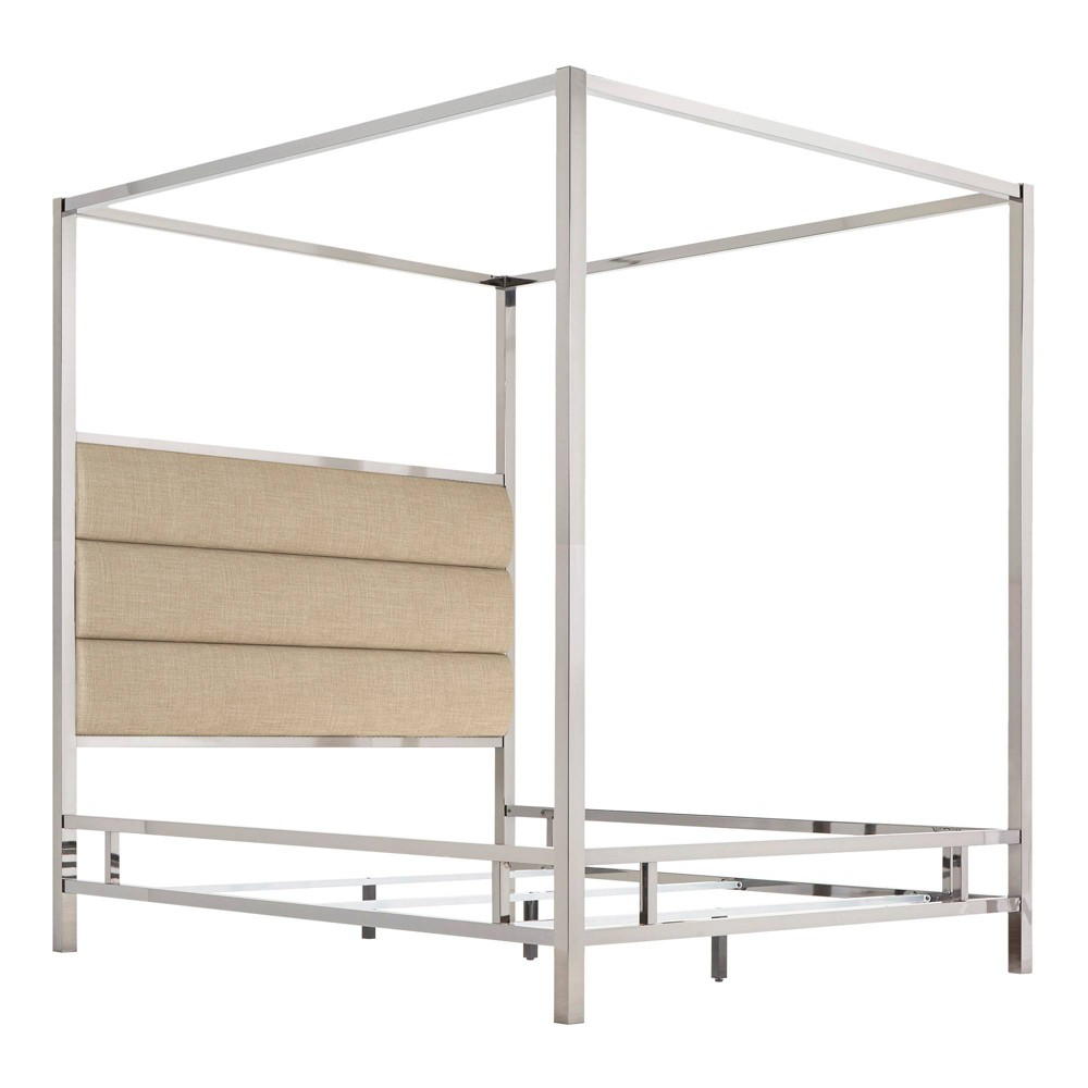 Queen Manhattan Canopy Bed with Horizontal Panel Headboard Oatmeal Brown - Inspire Q