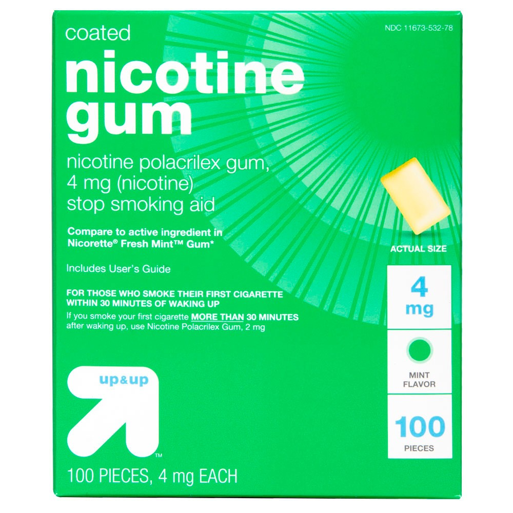 Coated Nicotine 4mg Gum Stop Smoking Aid Cool Mint 100ct Up 38 Up 8482