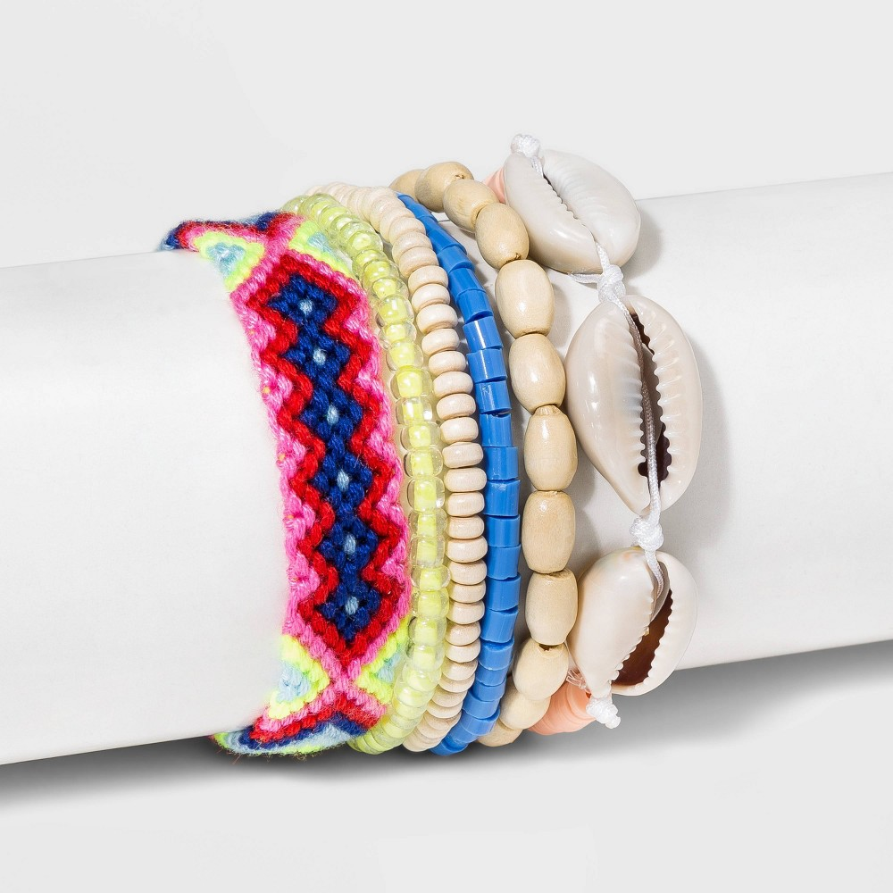 Image of Cowrie Shell, Seed Bead, Woven and Stretch Bracelet Set - Wild Fable , Women's, MultiColored