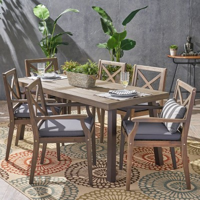 Juniper 7pc Acacia Wood Dining Set - Gray/Dark Gray - Christopher Knight Home