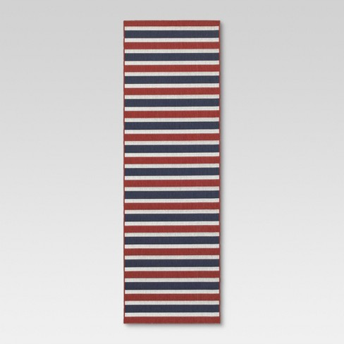 Red And Blue Stripe Outdoor Rug - Threshold™ - image 1 of 4