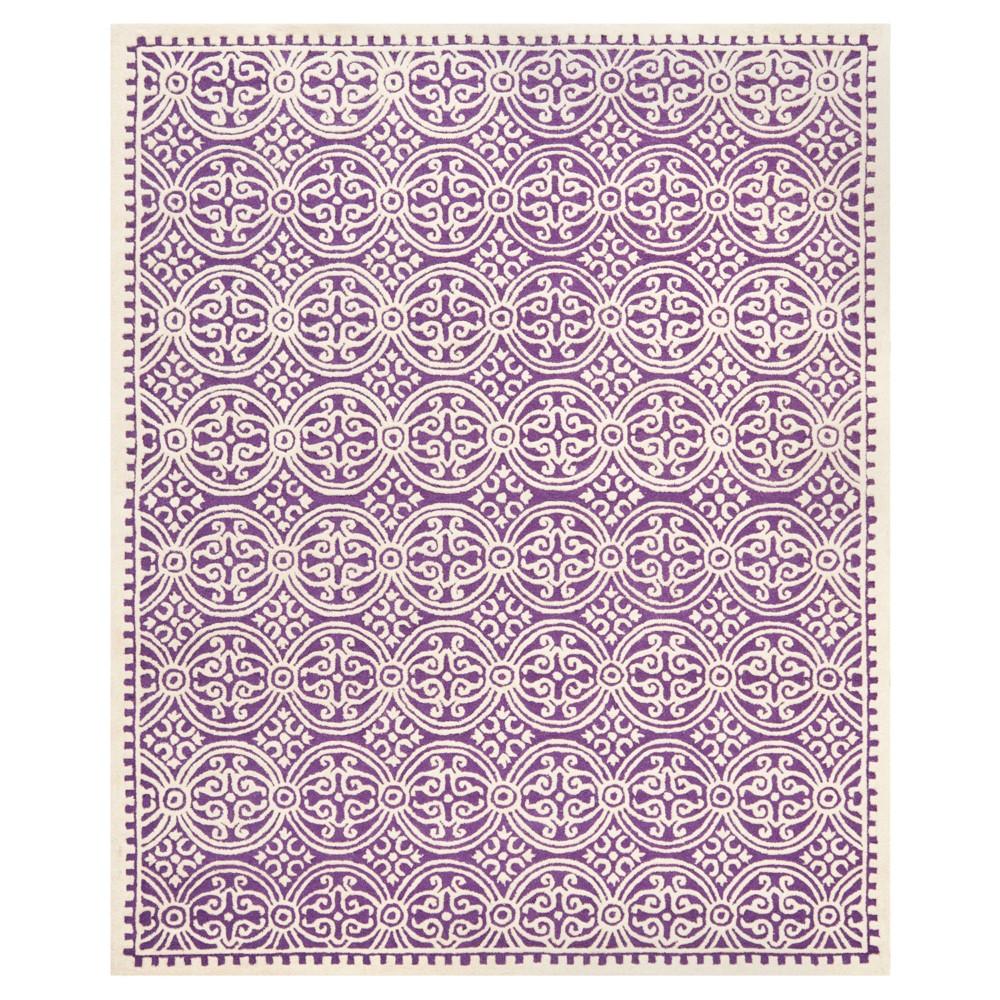 Purple/Ivory Geometric Tufted Area Rug 6'X9' - Safavieh