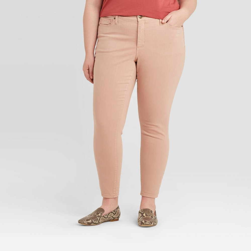 Women's Plus Size Mid-Rise Skinny Jeans - Ava & Viv Pink 22W was $27.99 now $19.59 (30.0% off)