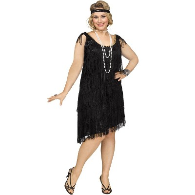 Fun World Shimmery Flapper Plus Size Costume (Black)