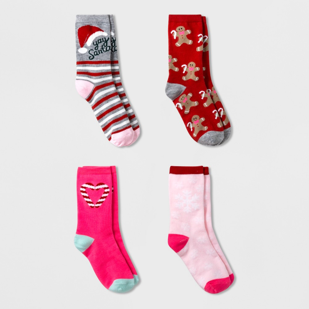 Girls' 4pk Santa Crew Socks - Cat & Jack Pink/Red S, Multicolored
