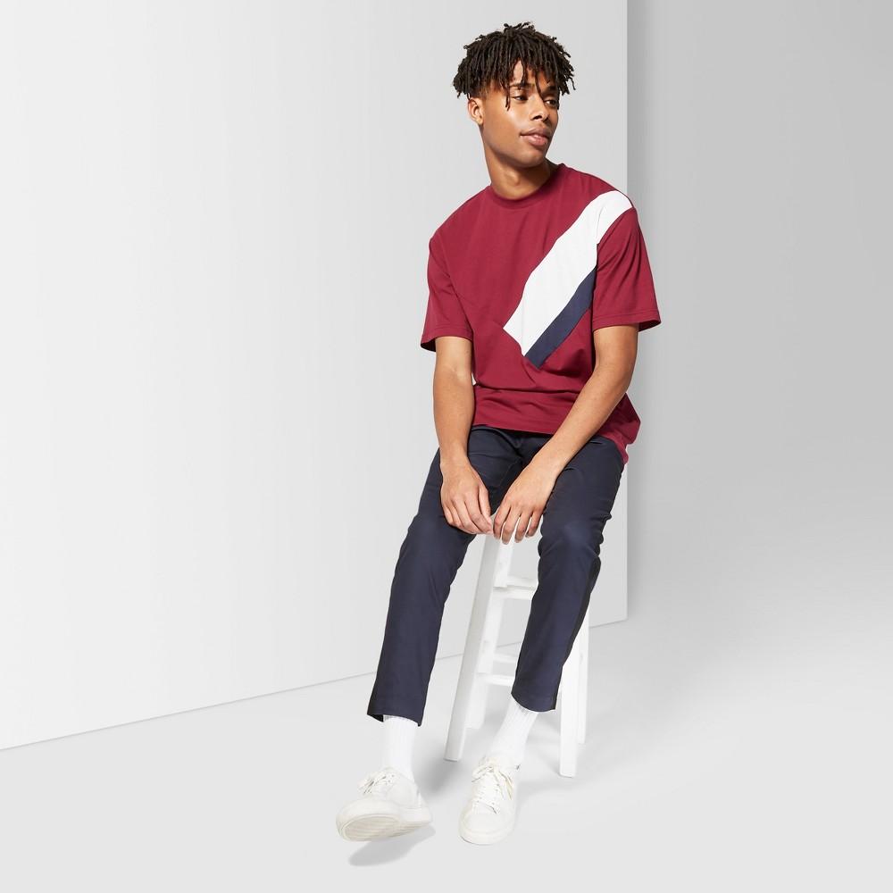 Men's Short Sleeve Asymmetrical Crew T-Shirt - Original Use Cherry Peony L, Red