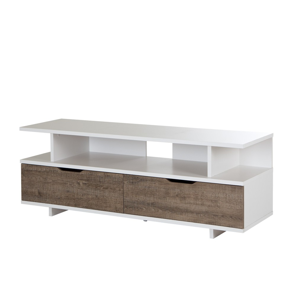 Reflekt TV Stand With Drawers, For TVs Up To 60 Weathered Oak And Pure White - South Shore