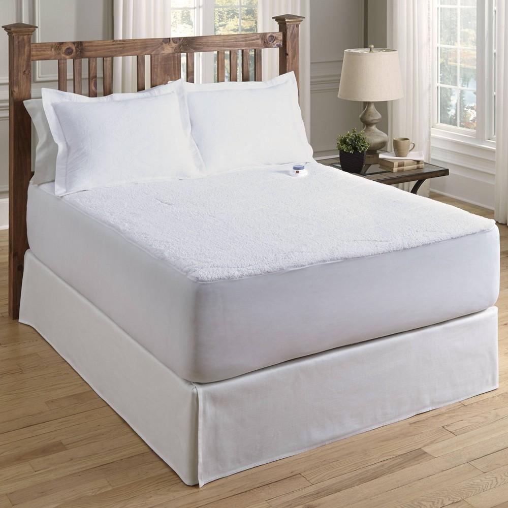 Image of California King Sherpa Low Voltage Electric Warming Mattress Pad - Serta, White