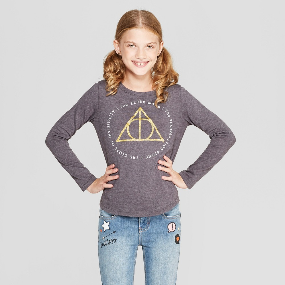 Plus Size Girls' Harry Potter Deathly Hallows Long Sleeve T-Shirt - Charcoal Heather L Plus, Gray