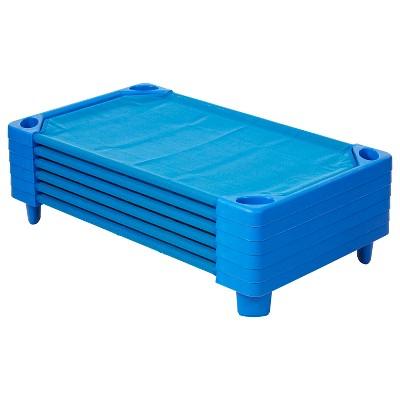 ECR4Kids Streamline Toddler Naptime Cot, Stackable Daycare Cot for Kids, Assembled, Blue, set of 6
