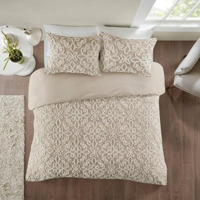 Amber Tufted Cotton Chenille Duvet Cover Set