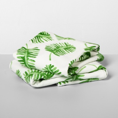 2pk Palms Hand Towels Green/White - Opalhouse™