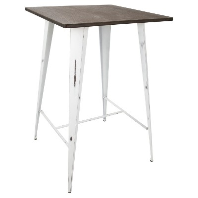 Oregon Bar Height Table with Vintage White Frame/Espresso Wood - LumiSource