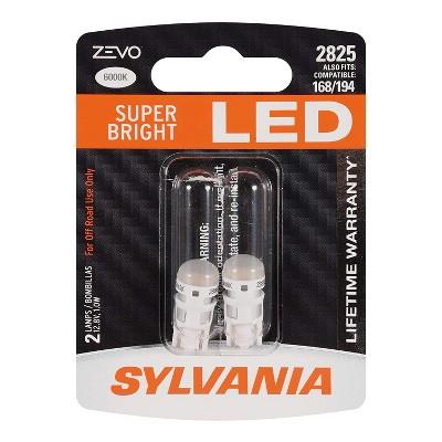 Sylvania Zevo 2825 White T10 W5W Socket LED Super Bright Interior Exterior Vehicle Car Lighting Applications Light Bulb Set (2 Pack)
