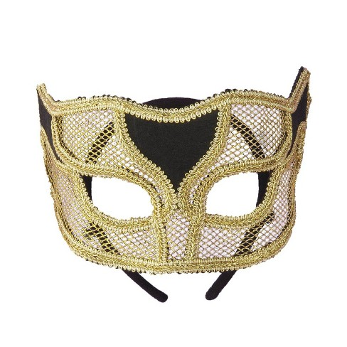 Venetian Mask Netted Gold - image 1 of 3