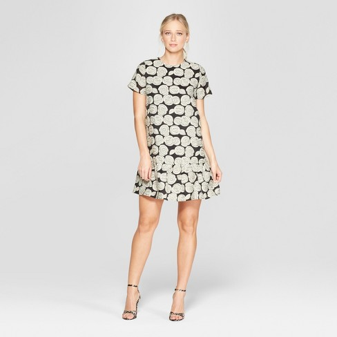 Women's Floral Print Short Sleeve Brocade Mini Dress - Who What Wear™ Black - image 1 of 3
