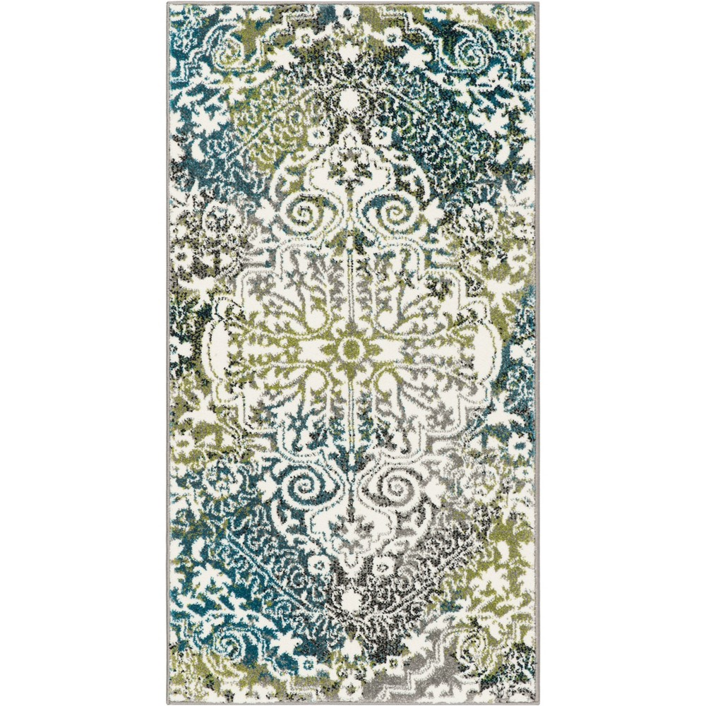 22X4 Medallion Loomed Accent Rug Ivory/Peacock - Safavieh Reviews