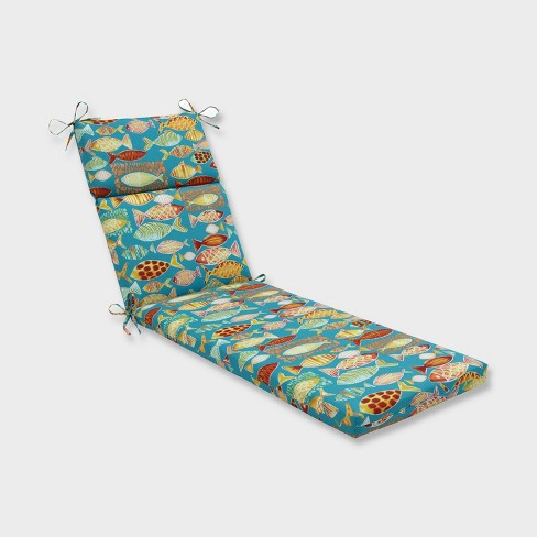 Hooked Beach Chaise Lounge Outdoor Cushion Blue - Pillow Perfect - image 1 of 2