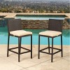 Cailen Outdoor Wicker Bar Stools with Cushions (Set of 2) - Espresso - Abbyson Living - image 2 of 4