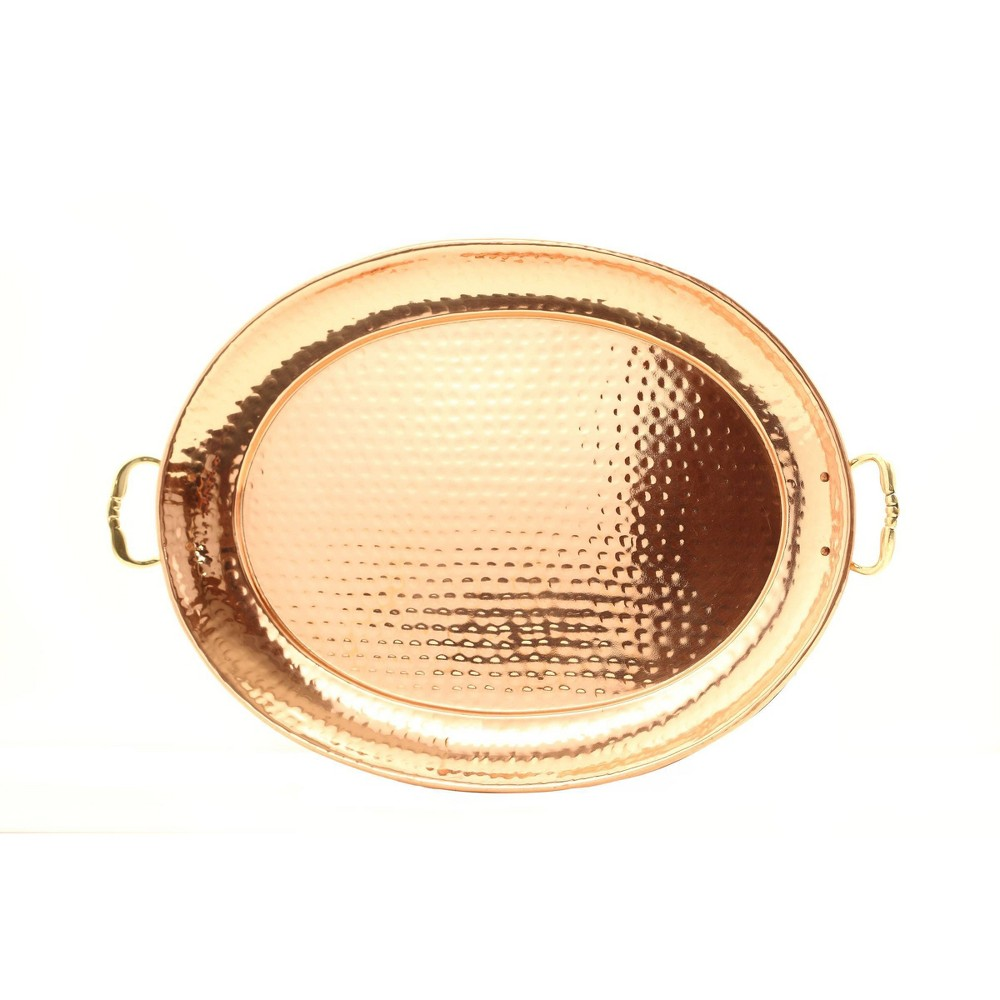 "Image of ""Old Dutch 15"""" x 11"""" Steel Oval Serving Tray with Brass Handles Copper"""