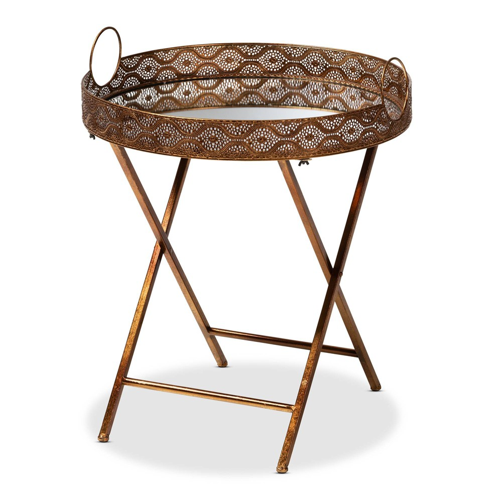 Lamia Finished Foldable Metal and Mirrored Glass Accent Tray Table Gold - Baxton Studio
