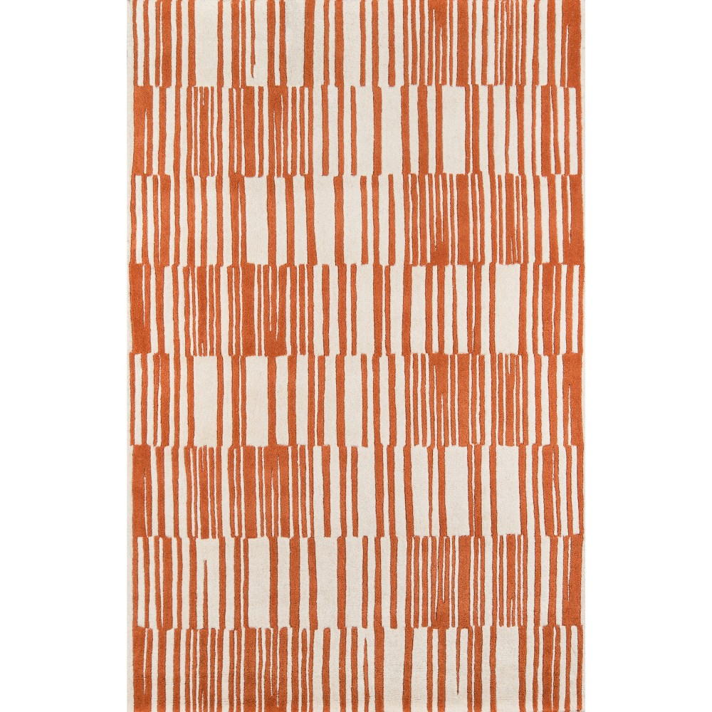 8' x 10' Modern Stripe 100% Wool Rug, Orange