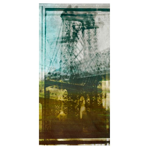 Williamsburg Bridge Abstract Unframed Wall Canvas Art - (18X36) - image 1 of 1